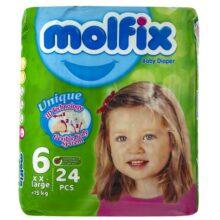 پوشک مولفیکس نوزادی 24 عددی سایز 6 Molfix