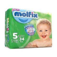 پوشک مولفیکس نوزادی ۳۴ عددی سایز ۵ Molfix
