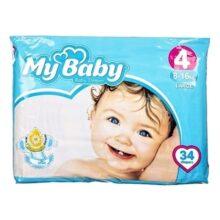 پوشک مای بیبی ۳۴ عددی سایز ۴ My Baby
