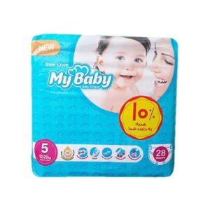 پوشک مای بیبی 28 عددی سایز 5 My Baby