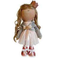 عروسک دخترانه روسی کت مخمل سارافون تور تاج زردار Rezvan