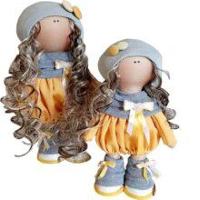 عروسک دخترانه روسی تونيك پيله دار كلاه بافت 2دکمه Rezvan