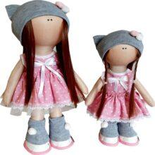 عروسک دخترانه روسی سارافون خالدار کلاه بافت 2توپدار Rezvan