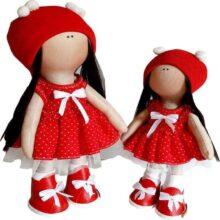 عروسک دخترانه روسی سارافون خالدار پايونی 4توپ Rezvan