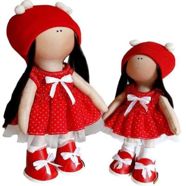 عروسک دخترانه روسی سارافون خالدار كلاه بافت