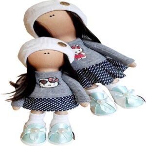 عروسک دخترانه روسی بلوزدامن خالدار کلاهدار کیتی  Rezvan