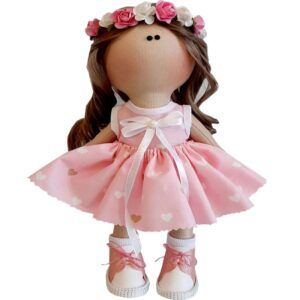 عروسک دخترانه روسی سارافون ریزقلب پاپیوندار تاج گلدار Rezvan