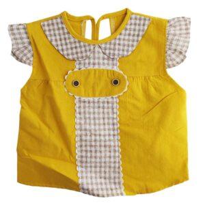 پیش بند نوزاد یقه ب ب چیندار دکمه ای