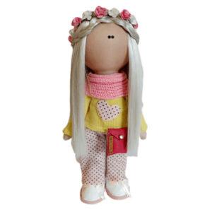 عروسک دخترانه روسی بلوزشلوار شالدارکیفدار تاج گلدار Rezvan