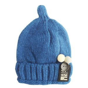 کلاه بافت کودکانه دکمه میکی کرکی زمستانی