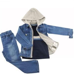 ست کت کلاهدار و شلوار جین 9 تا 24 ماه پسرانه