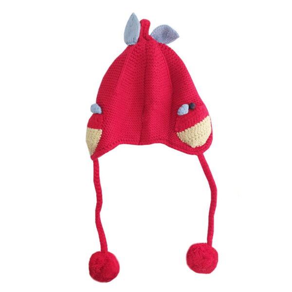 کلاه بافتنی بچگانه بنددار طرح گلابی