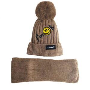 شال کلاه بافتنی زمستانی بچگانه طرح لبخند