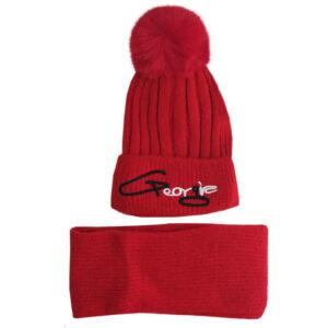 شال کلاه بافتنی کودکانه کرکی زمستانی