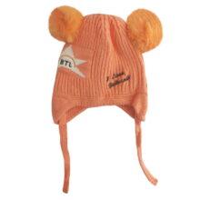 کلاه بافتنی بچگانه بند دار طرح ستاره