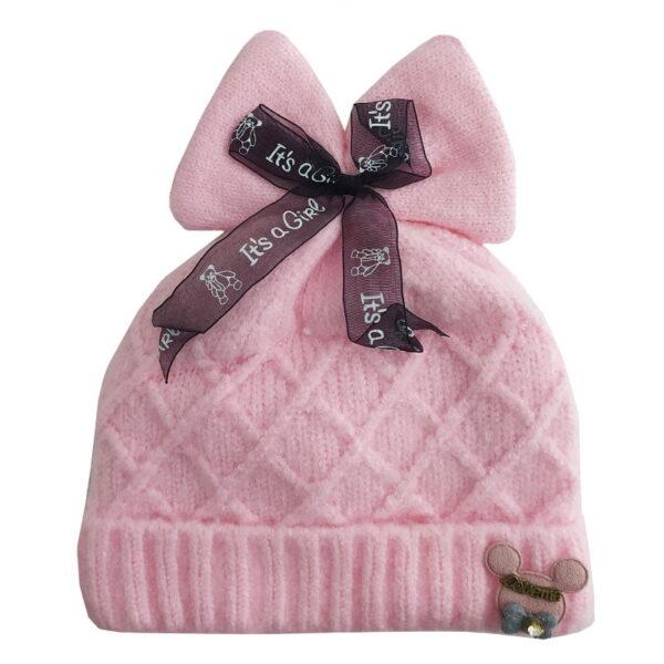 کلاه بچگانه ریزبافت زمستانی پاپیون دار