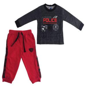 بلوزشلوار کودک نخی آستین بلند طرح پلیس TopTeen