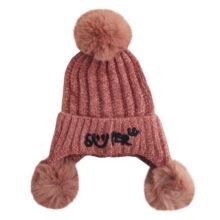کلاه بافت بچگانه زمستانی کرکی پوم دار