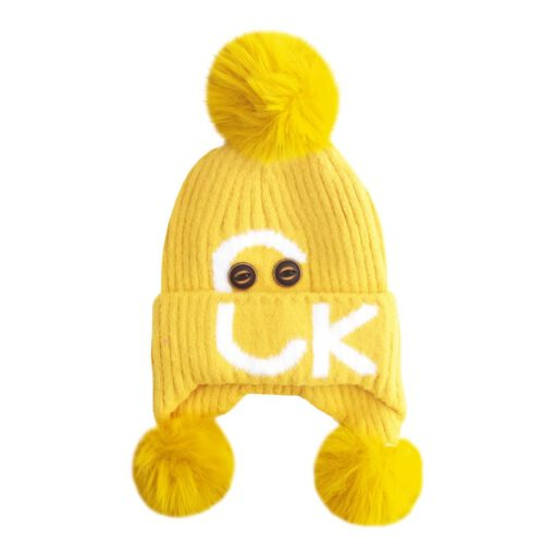 کلاه بچگانه بافتنی زمستانی سه پوم