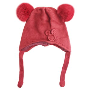کلاه بافت بچگانه بند دار طرح میکی
