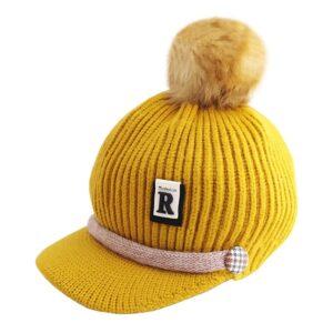 کلاه بافتنی کودکانه کرکی لبه دار اسپرت