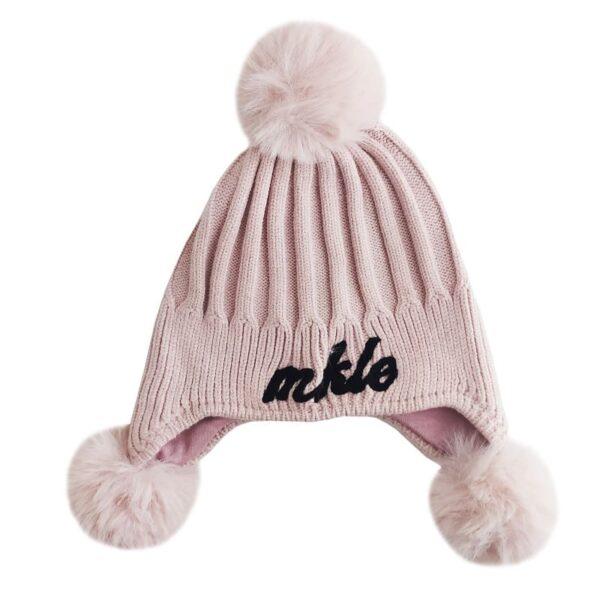 کلاه بچگانه بافت پوم دار