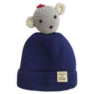 کلاه بافتنی کودک سر عروسکی زمستانی
