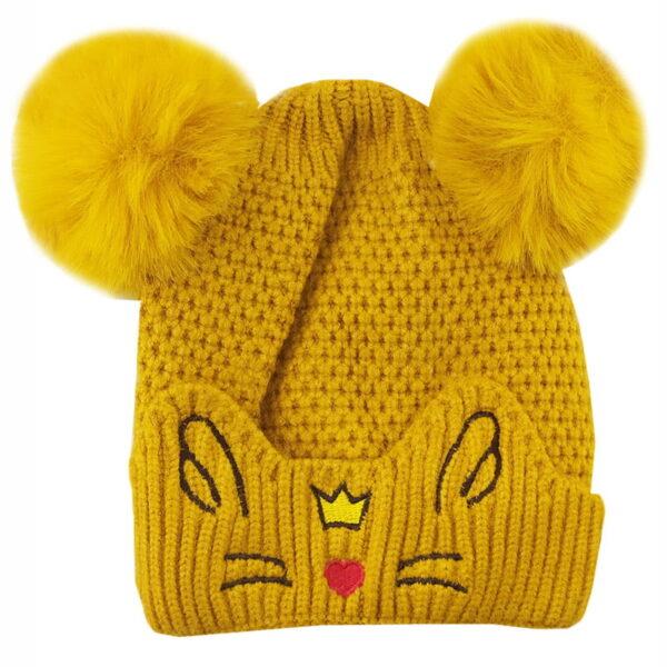 کلاه زمستانی بچگانه جغجغه دار طرح گربه