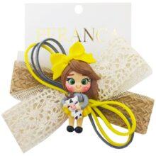 گیره سر بچگانه کنفی عروسک دار Perance hairbows