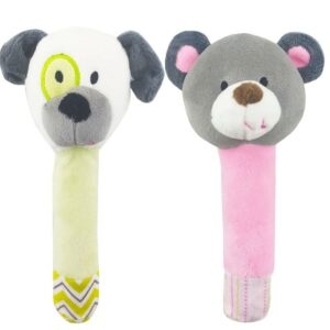 جغجغه سوسیسی بچگانه  عروسکی طرح حیوانات