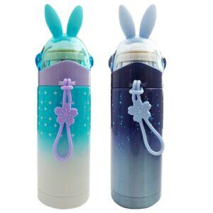 فلاسک استیل کودک طرح خرگوش ستاره دار  درب شیشه ای