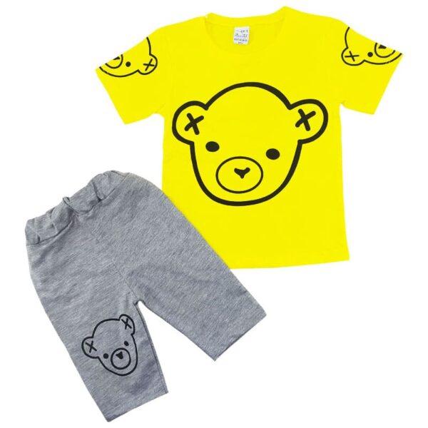 ست تیشرت شلوارک بچگانه رنگ زرد طرح خرس Amirtak
