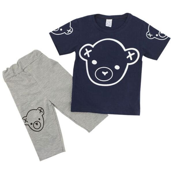 ست تیشرت شلوارک بچگانه سرمه ای طرح خرس Amirtak