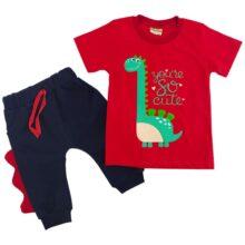 ست تیشرت شلوارک بچگانه رنگ قرمز طرح دایناسور  Anil