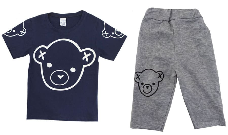 ست تیشرت شلوارک بچگانه سرمه ای طرح خرس
