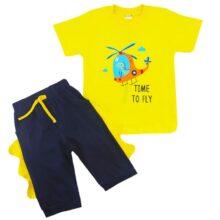 ست تیشرت شلوارک بچگانه رنگ زرد دایناسور خلبان Anil