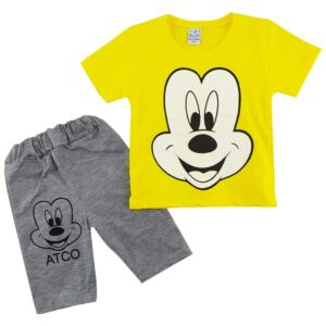 ست تیشرت شلوارک بچگانه میکی موس زرد Amirtak