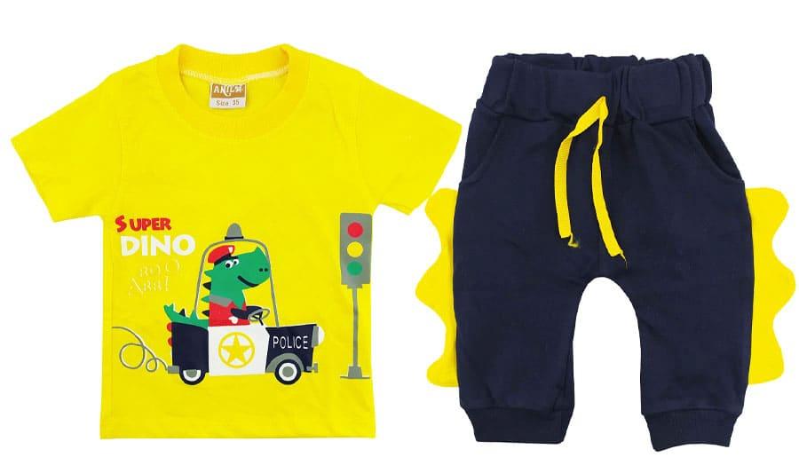 ست تیشرت شلوارک بچگانه زرد رنگ دایناسور پلیس