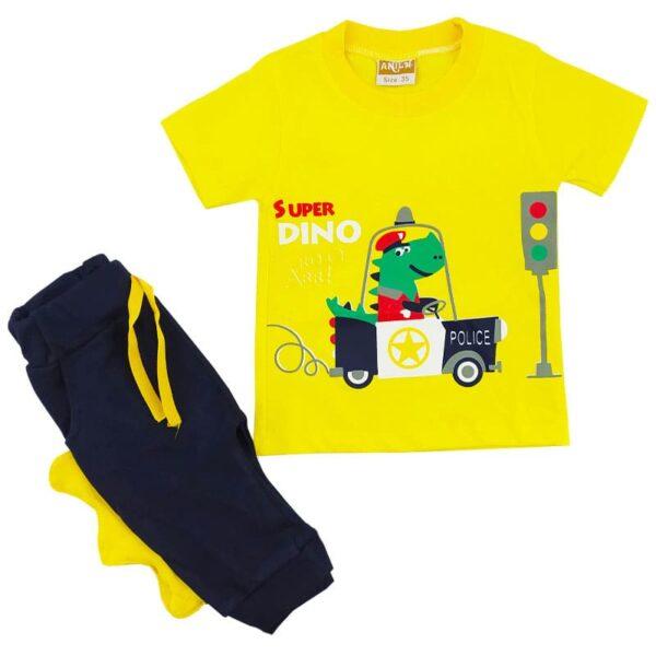ست تیشرت شلوارک بچگانه زرد رنگ دایناسور پلیس Anil