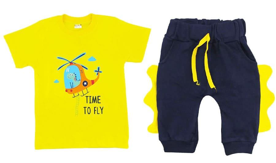 ست تیشرت شلوارک بچگانه رنگ زرد دایناسور خلبان