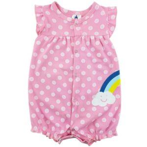 رامپر دخترانه طرح  رنگین کمان نخی آستین کوتاه  Baby gap
