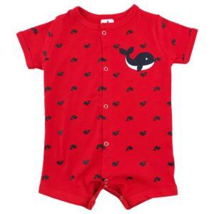 سرهم پسرانه (رامپر) نخی آستین کوتاه نهنگ Baby gap