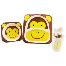 سرویس پنج تکه غذاخوری ملامین مربعی میمون چیکو Chicoo Baby