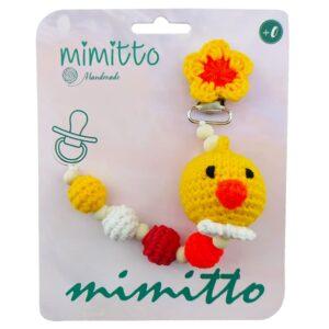 بند پستانک عروسکی بافت زرد Mimitto