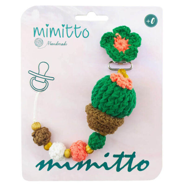 بند پستانک عروسکی بافت سبز تیره کاکتوس Mimitto