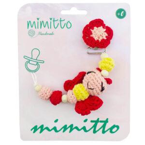 بند پستانک عروسکی بافت قرمز Mimitto