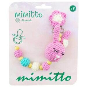 بند پستانک عروسکی بافت صورتی Mimitto