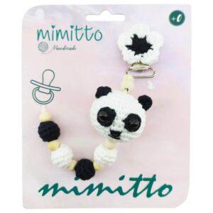 بند پستانک عروسکی بافت سفید-مشکی Mimitto