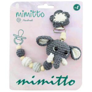 بند پستانک عروسکی بافت طوسی Mimitto