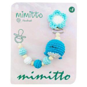بند پستانک عروسکی بافت آبی Mimitto
